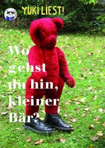 roter Teddybär mit schwarzen Schuhen