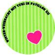 grüner Kreis und pinkes Herz